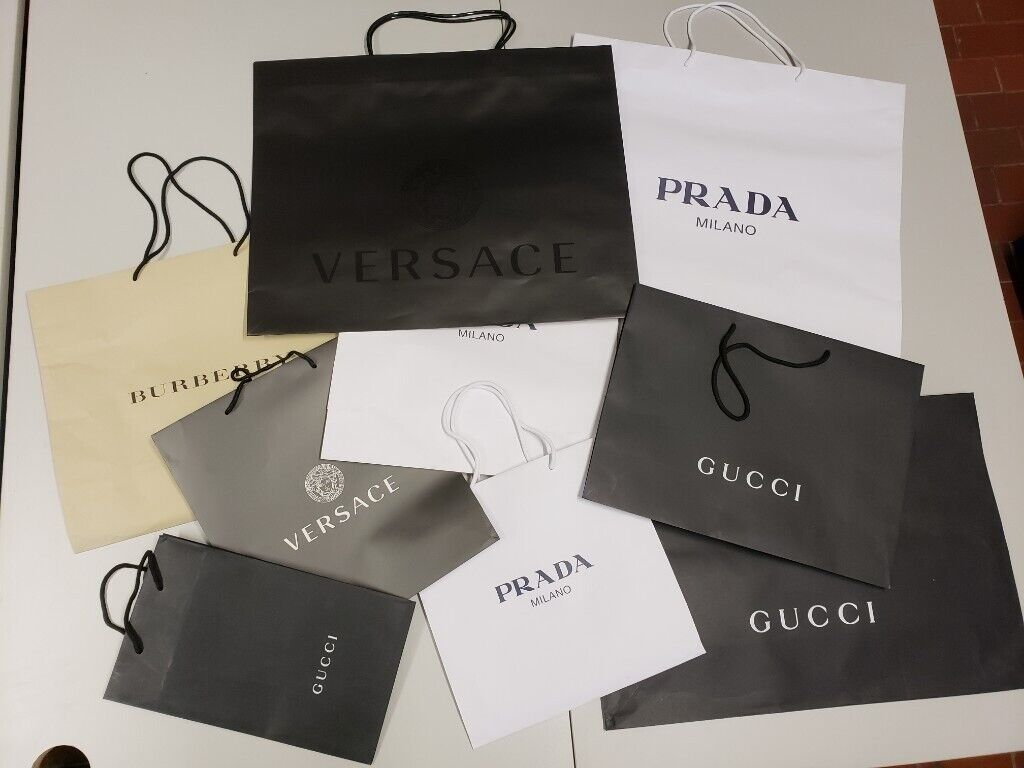 fd438be7368 Retail Carrier bags Gucci Prada Paper Shopping bags and more Designers  paper bags