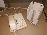 British Telecom Beige Retro Telephone and Wall Cradle