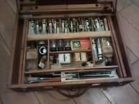 1940s winsor and newton art box & folding easle