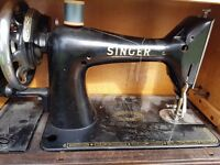 Vintage Singer sewing machine with box