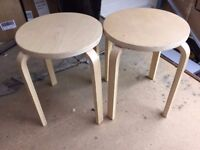Wooden Shop Stool House Changing Fitting Play Room Desk Counter Chair VGC x2