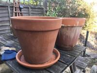 2 large terracotta plant pots