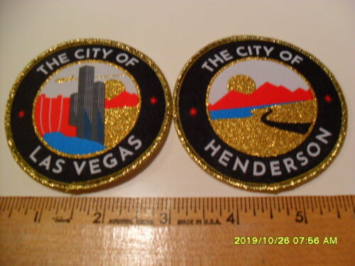 """NEW, SET 2, 3"""" CITY OF LAS VEGAS AND HENDERSON PATCHES FROM VGK NEVADA DAY GAME"""