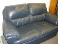 BLUE 2-SEAT LEATHER SOFA at Haven Housing Trust's charity shop