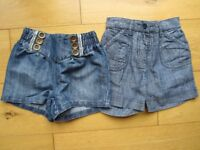 2 GIRLS DENIM SHORTS ~ BOTH EX CONDITION ~ 12-18 MONTHS & 1.5-2 YEARS ~ £1 FOR BOTH