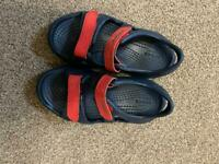 Child's size 10 navy and red crocs