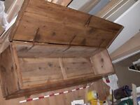 Large 18th/19th coffer chest, maybe Spanish monastic item, pine or chestnut