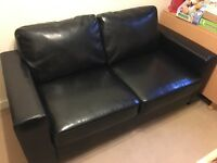 3 seater black sofa bed - as NEW