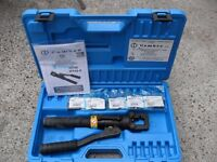 Cembre HT45 hand hydraulic crimper, crimping tool, case, and 4/6, 10, 95, 120, 150mm2 dies.