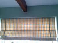 Striped Roman Blind in attractive yellow and blue