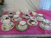 30 Piece Set Mixed Trios Teapot/Sugar Basin and Milk Jug