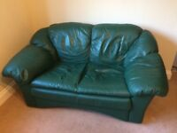 FREE. Pair of green leather two seater sofas
