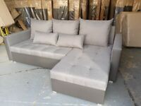 BIG SALE FREE delivery to your door corner sofa bed in grey fabric&faux leather