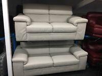 New/Ex Display Reid Liberata Grey Leather 3 Seater Sofa + 3 Seater Sofa (movable head rest)