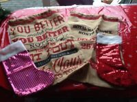 2 Santa Sacks and Christmas Glittery Stockings Socks See photo Fill Them For The Best Christmas Ever