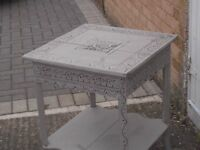 carved oak antique occ table painted in shabby chic french fashion