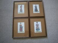 4 X SKETCHES OF CAMBRIAN COSTUMES (LADY LLANOVER 1802 - 1896)