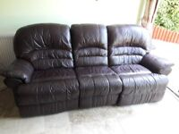 Leather, electric recliner 3 seat sofa and 2 armchairs