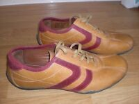MEN'S CASUAL SHOES FROM NEXT - TAN COLOUR WITH RED STRIPE - SIZE 8 ( EURO SIZE 42 ) HARDLY WORN