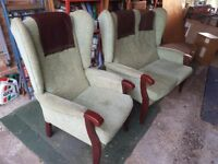 A DOUBLE RETRO TYPE ARMCHAIR & A SINGLE ARMCHAIR, BOTH MATCHING, PALE GREEN