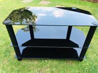 Black Glass TV Corner Stand