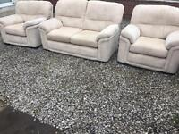 Stokers 3 piece oatmeal sofa suite like new. Free delivery