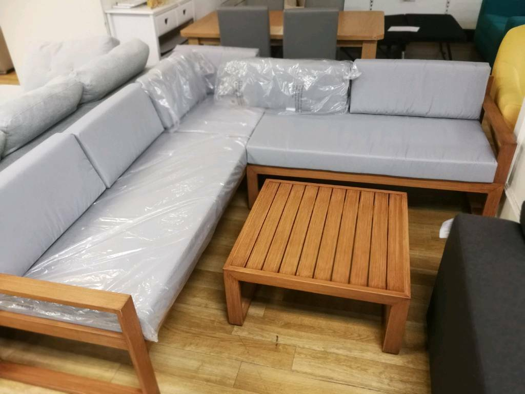 Garden corner sofa set with cushions and table oak ...