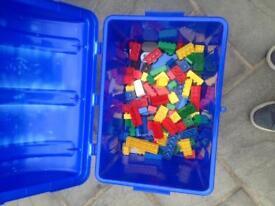 Lego Duplo bricks and storage chest
