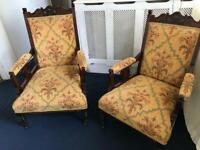 Victorian grandfather and grandmother chairs