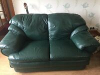 Leather sofas, green made by Reids