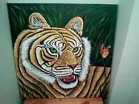 CANVAS ACRILIC PAINTING OF A TIGER STUNNING PEICE OF WORK