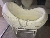 Mamas and papas welcome to the world white Moses basket with rocking stand