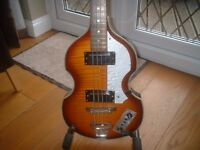 CHALLENGE ELECTRIC VIOLIN BASS GUITAR 4 STRINGS - MAPLE SUNBURST - STUNNING.