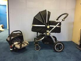 Pram system stroller compelete with carseat & carrycot