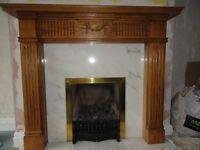 Oak effect fire surround