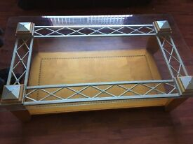 Solid table with glass top immaculate condition