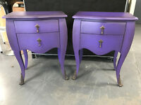 James Shabby Chic Style Pair Of Purple Bedsides