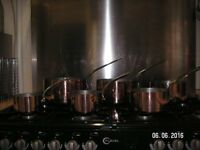 SIX FRENCH VINTAGE COPPER SAUCEPANS TIN LINED MADE BY E.DEHILLERIN PARIS