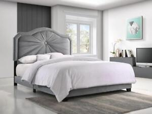 Grey Fabric Queen Bed (KA209)