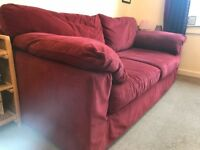 Red Next 3 seater large comfortable red sofa AND with brand new, unused gold / caramel cover