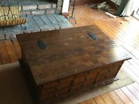 Dark wood multi-drawer coffee table