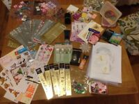 Big bundle of various card making items. Stickers, embellishments, embossing stencils.