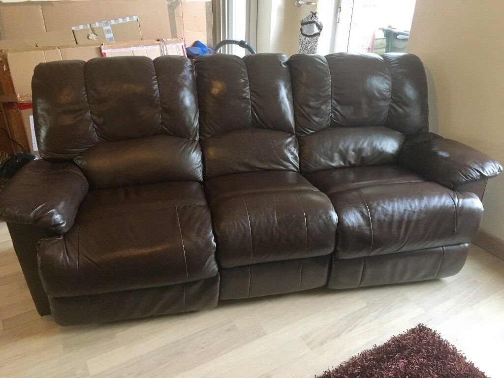 Brown leather 3 seater