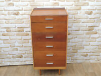 Tallboy chest of drawers retro on feet (Delivery)