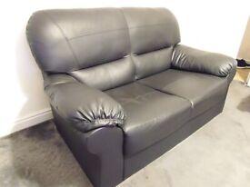 2 Seater Black Faux Leather Sofa (07 546054832)
