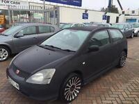2003 53 HONDA CIVIC LOOKS LIKE TYPE R IN MATT GREY WRAP PROJECT SPARES OR REPAIR DELIVERY POSSIBLE !