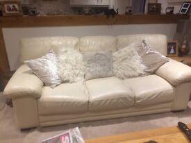 Cream Leather Sofas 2
