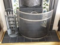 Designer Stainless steel Fireplace Guard & Companion set. As new £20.00