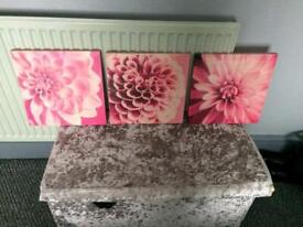 Pretty pink canvas x3