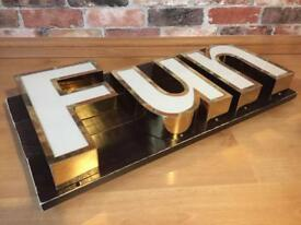 Upcycled LED Fun Sign Feature Light Man Cave Office Garage Bedroom Industrial Business Retro Cool